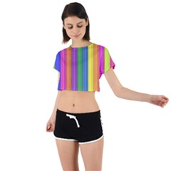 Colorful Spongestrips Tie Back Short Sleeve Crop Tee by Sparkle