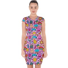 Colourful Funny Pattern Capsleeve Drawstring Dress