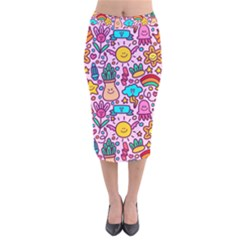 Colourful Funny Pattern Velvet Midi Pencil Skirt