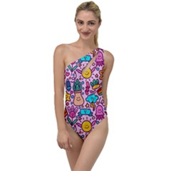 Colourful Funny Pattern To One Side Swimsuit by designsbymallika