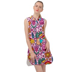 Colourful Funny Pattern Sleeveless Shirt Dress