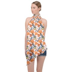 Black Orange Autumn Leaves Pattern Halter Asymmetric Satin Top