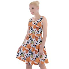 Black Orange Autumn Leaves Pattern Knee Length Skater Dress