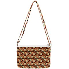 Autumn Leaves Orange Pattern Double Gusset Crossbody Bag