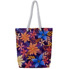 Colourful Print 5 Full Print Rope Handle Tote (small)