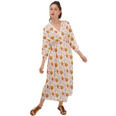 Orange Pink Tree Pattern Grecian Style  Maxi Dress