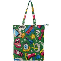 Cartoon Pattern Double Zip Up Tote Bag