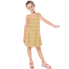 Autumn Leaves Tile Kids  Sleeveless Dress