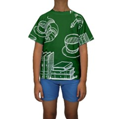 Books And Baked Goods Pattern Kids  Short Sleeve Swimwear by DithersDesigns