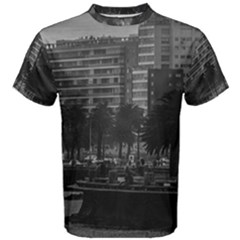 Sunset Coastal Urban Scene, Montevideo, Uruguay Men s Cotton Tee