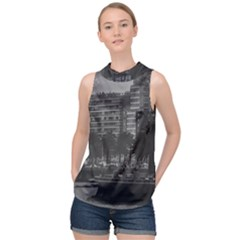 Sunset Coastal Urban Scene, Montevideo, Uruguay High Neck Satin Top by dflcprintsclothing