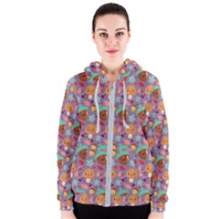 Nuts And Mushroom Pattern Women s Zipper Hoodie