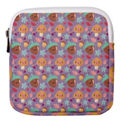 Nuts And Mushroom Pattern Mini Square Pouch