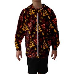 Yellow Green Orange Leaf Pattern Kids  Hooded Windbreaker