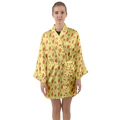 Autumn Leaves 4 Long Sleeve Satin Kimono