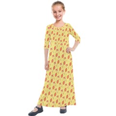 Autumn Leaves 4 Kids  Quarter Sleeve Maxi Dress