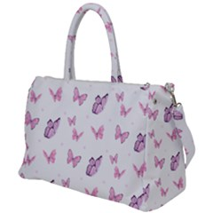 Pink Purple Butterfly Duffel Travel Bag