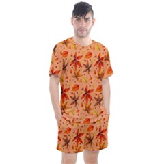 Orange Brown Leaves Men s Mesh Tee And Shorts Set