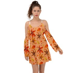 Orange Brown Leaves Kimono Sleeves Boho Dress