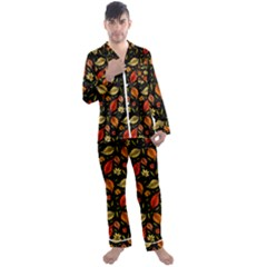 Golden Orange Leaves Men s Long Sleeve Satin Pyjamas Set