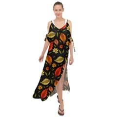 Golden Orange Leaves Maxi Chiffon Cover Up Dress