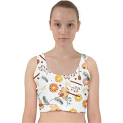Honey Bee Pattern Velvet Racer Back Crop Top