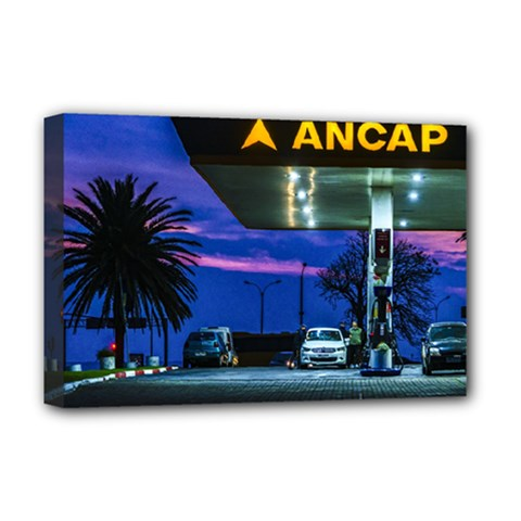 Night Scene Gas Station Building, Montevideo, Uruguay Deluxe Canvas 18  X 12  (stretched) by dflcprintsclothing