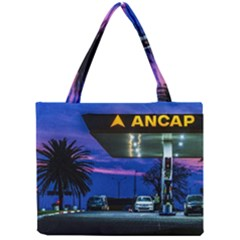 Night Scene Gas Station Building, Montevideo, Uruguay Mini Tote Bag by dflcprintsclothing