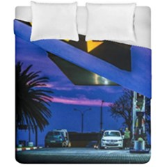 Night Scene Gas Station Building, Montevideo, Uruguay Duvet Cover Double Side (california King Size) by dflcprintsclothing