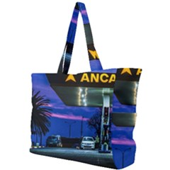 Night Scene Gas Station Building, Montevideo, Uruguay Simple Shoulder Bag by dflcprintsclothing
