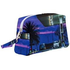 Night Scene Gas Station Building, Montevideo, Uruguay Wristlet Pouch Bag (large)