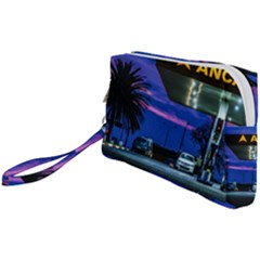 Night Scene Gas Station Building, Montevideo, Uruguay Wristlet Pouch Bag (small) by dflcprintsclothing