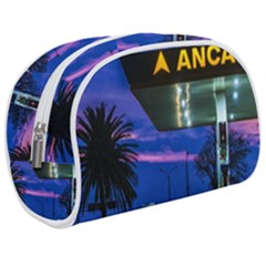 Night Scene Gas Station Building, Montevideo, Uruguay Makeup Case (medium) by dflcprintsclothing