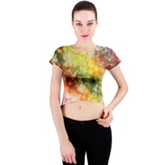 The Drawn Background Grunge, A Multikolor Crew Neck Crop Top