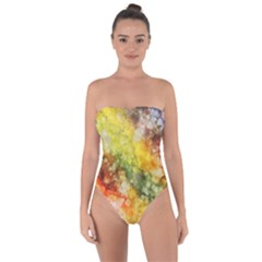 The Drawn Background Grunge, A Multikolor Tie Back One Piece Swimsuit
