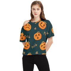 Halloween One Shoulder Cut Out Tee by Sobalvarro