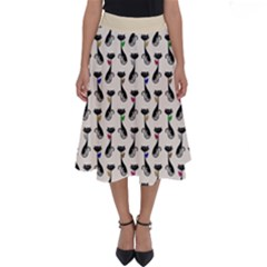 Lady Cat Pattern, Cute Cats Theme, Feline Design Perfect Length Midi Skirt by Casemiro