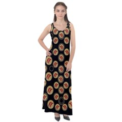 Earth With Flowers And Tree  Wood  Vintage Sleeveless Velour Maxi Dress by pepitasart