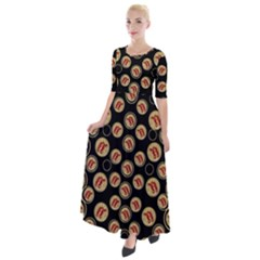 Earth With Flowers And Tree  Wood  Vintage Half Sleeves Maxi Dress by pepitasart