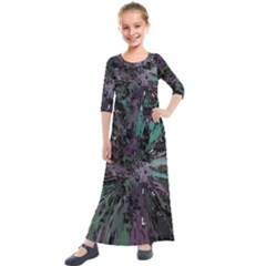 Glitched Out Kids  Quarter Sleeve Maxi Dress