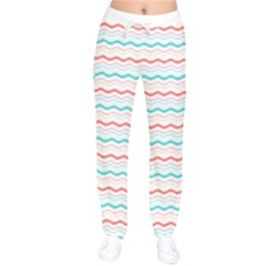 Aqua Coral Waves Women Velvet Drawstring Pants
