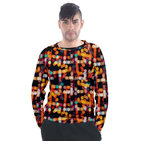 Multicolored Bubbles Print Pattern Men s Long Sleeve Raglan Tee by dflcprintsclothing