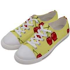 Red Cherry Fruit Pattern Women s Low Top Canvas Sneakers by Lotus
