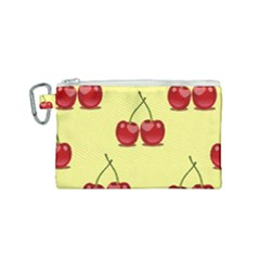 Red Cherry Fruit Pattern Canvas Cosmetic Bag (small)