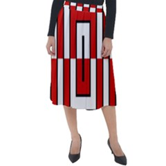 Square Maze Red Classic Velour Midi Skirt