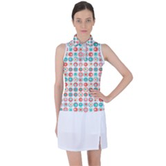 Aqua Coral Circles Women s Sleeveless Polo Tee