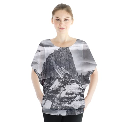 Fitz Roy And Poincenot Mountains, Patagonia Argentina Batwing Chiffon Blouse by dflcprintsclothing