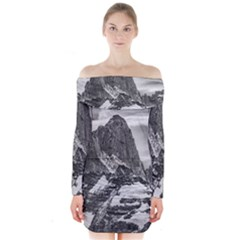 Fitz Roy And Poincenot Mountains, Patagonia Argentina Long Sleeve Off Shoulder Dress by dflcprintsclothing