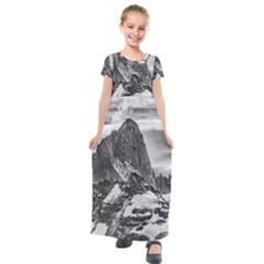 Fitz Roy And Poincenot Mountains, Patagonia Argentina Kids  Short Sleeve Maxi Dress by dflcprintsclothing