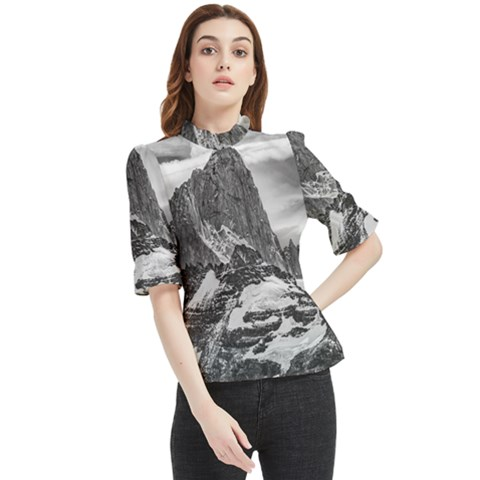 Fitz Roy And Poincenot Mountains, Patagonia Argentina Frill Neck Blouse by dflcprintsclothing